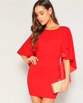 Women Glamorous Sexy Open Back Cloak Sleeve Mini Night Out Party Dress