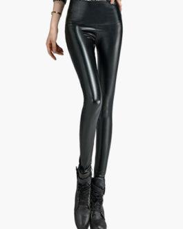 Women Glamour PU Leather Shaping Pants