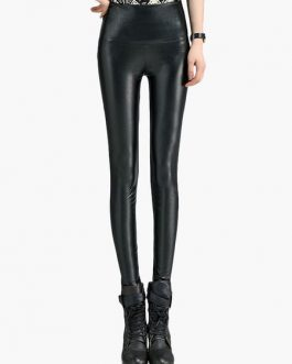 Women Glamour PU Leather Shaping Pants
