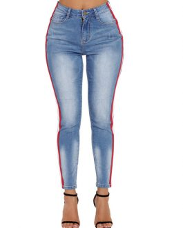 Women Jeans Stripes Distressed Denim Pants