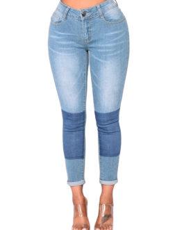 Women Jeans Two Tone Skinny Denim Pants