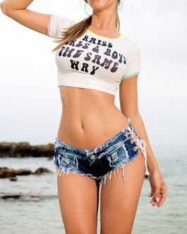 Women Laced Open Side Denim Shorts