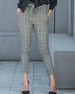 Women Laid Pants High Waist Tapered Pants