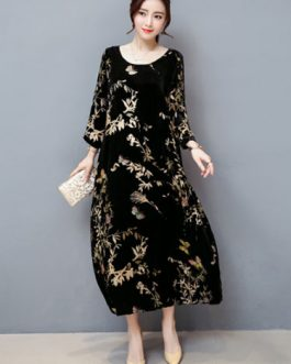 Women Long Shift Floral Print Velour Long Dress
