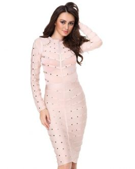 Women Long Sleeve Studded Button Bodycon Celebrity party Dress