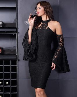 Women New Flare Sleeve Runway Celebrity Bodycon Lace Dress