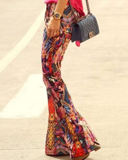 Women Palazzo Pants Flared Pants Buttons Multicolor Casual Pants