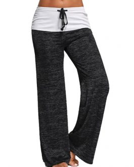Women Palazzo Pants Sweat Pants Cotton Track Drawstring Loose Leg Yoga Pants