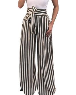 Women Pants Striped Drawstring High Waist Long Wide Leg Pants