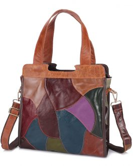 Patchwork Genuine Leather Tote Bags Large Capacity Handbags