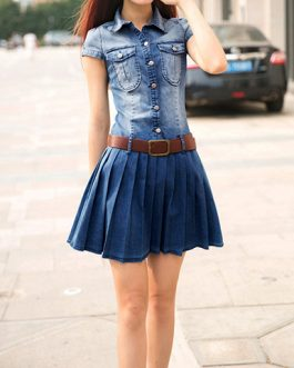 Women Pleated Denim Dress