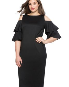 Women Plus Size Party Ruffles Shaping Bodycon Dress