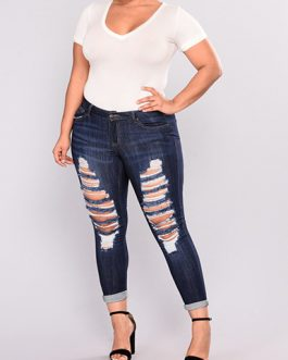 Women Plus Sized Distressed Jeans