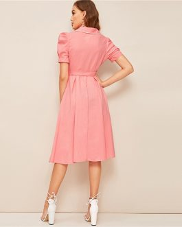 Women Puff Sleeve Lace Trim Belted Buttoned Cute Dress