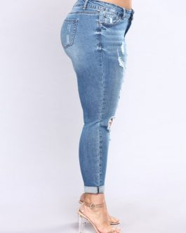 Women Ripped Jeans Distressed Shaping Denim Pants