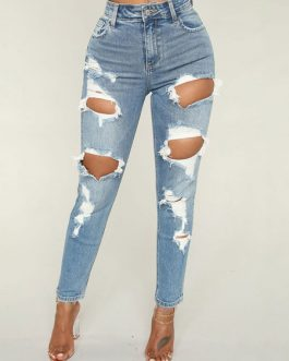 Women Ripped Skinny Distressed Denim Trousers