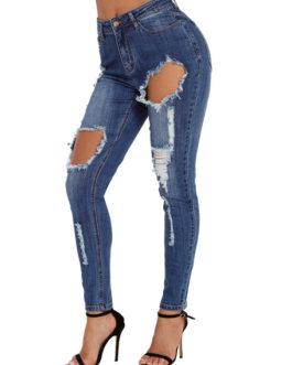 Women Ripped Skinny Leg Distressed Denim Pants