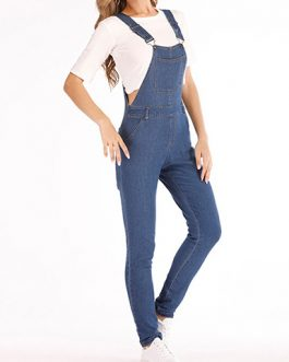 Women Rolled Pant Leg Faded Denim with Pockets