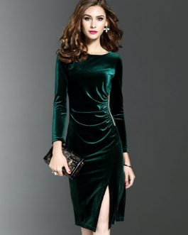 Women Round Neck Split Shaping Midi Dress