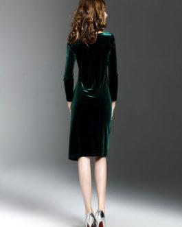 Women Round Neck Split Shaping Midi Dress