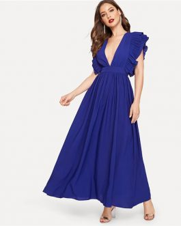 Women Ruffle Sleeveless Deep V Neck Fit And Flare Dress