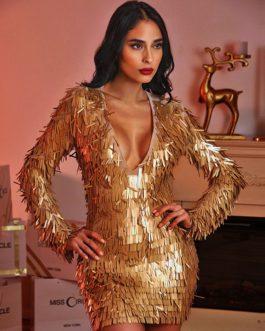 Women Sequined Sexy Long Sleeve Deep V Celebrity Mini Club Dress