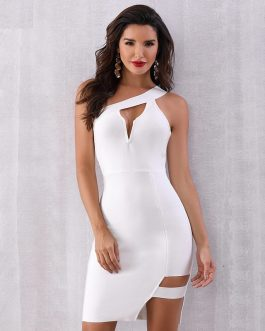 Women Sexy One Shoulder Hollow Out Celebrity Club Party Dress