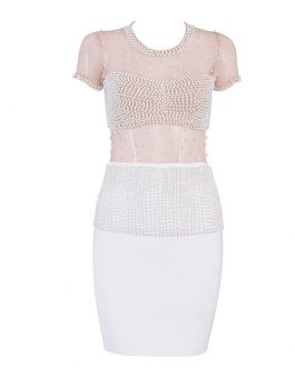 Women Sexy Sleeveless Pearl Lace Evening Party Celebrity Dress