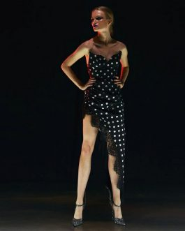 Women Sexy Sleeveless Runway Polka Dot Evening Party Dress