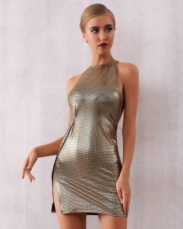 Women Sexy Sleeveless Sequin Backless Mini Club Dress