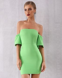 Women Sexy Strapless Elegant Off Shoulder Celebrity Club Party Dress