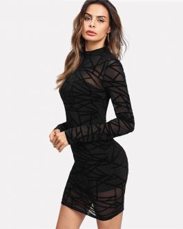 Women Sexy Transparent Sheer  Bodycon Party Dress Overlay 2 In 1 Dress