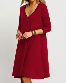 Women Shift Long Sleeve Plunging Midi Dress