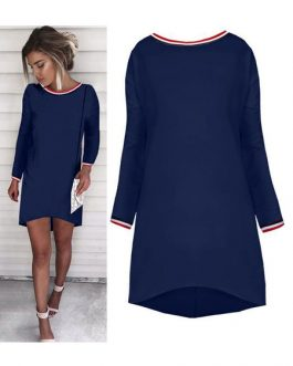 Women Shift Round Neck Long Sleeve Mini Dress