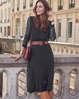 Women Shirt Chiffon Polka Dot Button Midi Dress