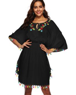 Women Skater Tassels Embroidered Midi Dress