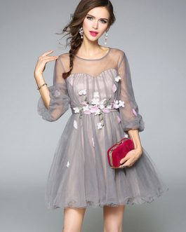 Women Skater Tulle Flowers Sleeve Mini Dress