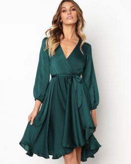 Women Skater V Neck Wrap Irregular Midi Dress