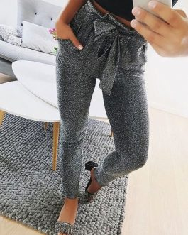 Skinny Pants Elastic Tie Waist Grey Trousers