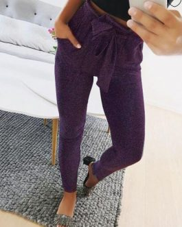 Skinny Pants Elastic Tie Waist Grey Trousers