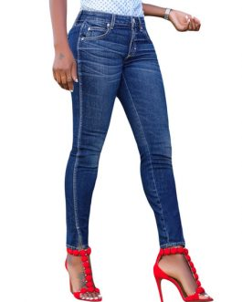 Women Slit Skinny Leg Denim Pants