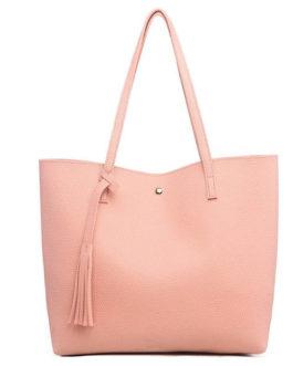 Women Solid Leisure Shoulder Bag Casual PU Leather Tote Bag Tassel Handbag