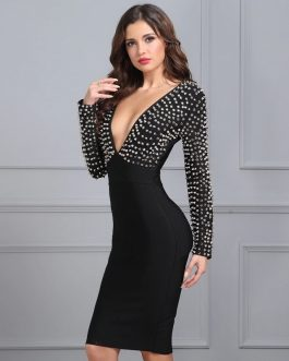 Women Studded Rivet Vestidos Knee-Length Celebrity Evening Party Dress
