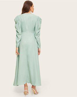 Women Surplice Neck Gathered Sleeve Puff Sleeve Long Dress