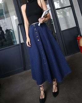 Women Tea Length A Line Denim Skirt