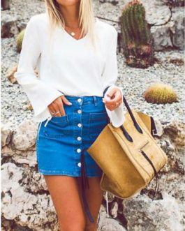 Women Throw Back Style Mini Denim Skirt