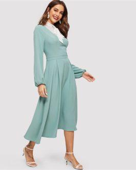 Women Tied Contrast Yoke Box Bishop Sleeve Long Dress