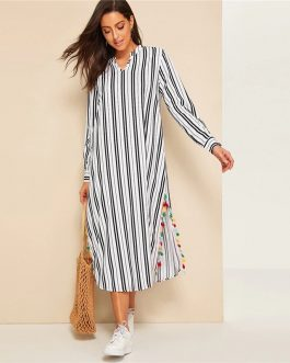 Women V-Cut Split Side Striped Long Sleeve Tunic Dress