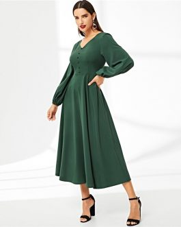 Women V-Neck Button Detail Lantern Sleeve Vintage Long Dress