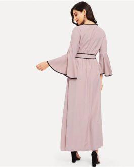 Women V-neck Contrast Binding Flounce Sleeve Belted Maxi Dress